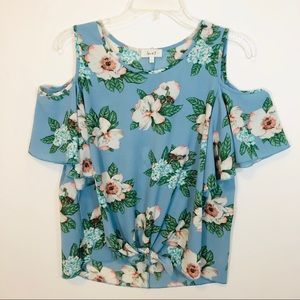 Love J Blue Floral Cold Shoulder Blouse Tie Front